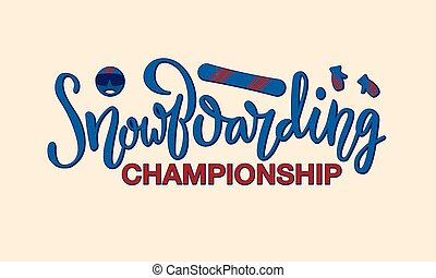 Snowboarding championship lettering