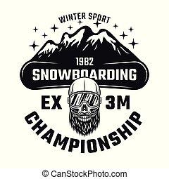 Snowboarding championship vector emblem