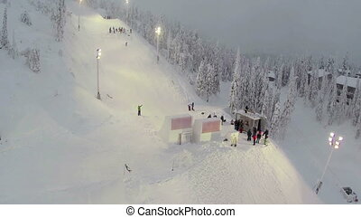 Snowboarding Competition At Ski Resort