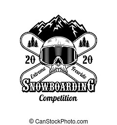 Snowboarding competition label vector illustration