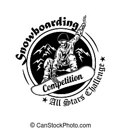 Snowboarding competition symbol vector illustration