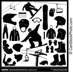 Snowboarding elements vector set.