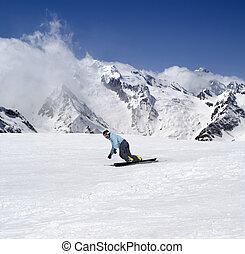 snowboarding, em, montanhas