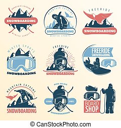 Snowboarding Emblem Set In Color