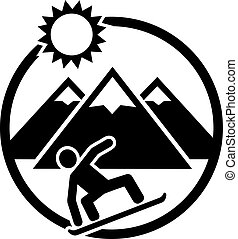 Snowboarding emblem with boarder hills and sun