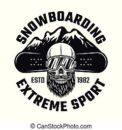 Snowboarding emblem with skull and mountains