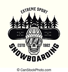 Snowboarding emblem with skull in hat, ski glasses