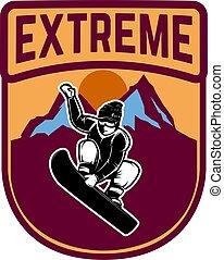Snowboarding. Emblem with snowboarder. Design element for logo, label, emblem, sign.