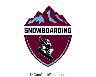 Snowboarding. Emblem with snowboarder. Design element for logo, label, emblem, sign.