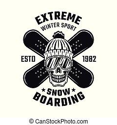 snowboarding, emblema, com, cranio, e, dois, placas