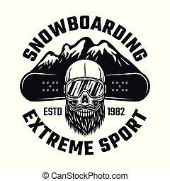 snowboarding, emblema, com, cranio, e, montanhas