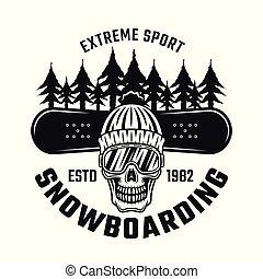 snowboarding, emblema, com, cranio, em, chapéu, esqui, óculos