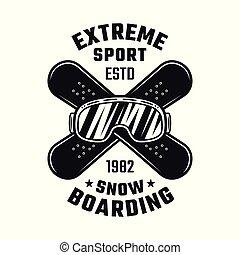 snowboarding, emblema, com, esqui, óculos, e, placas