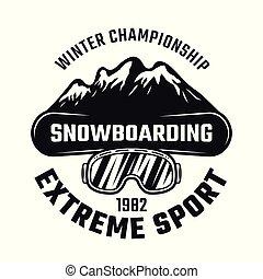 snowboarding, emblema, com, tábua, e, montanhas