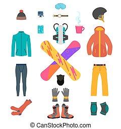 snowboarding, equipamento, jogo