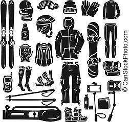 Snowboarding equipment icon set, simple style - Snowboarding...