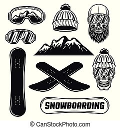 Snowboarding equipment set of vector objects