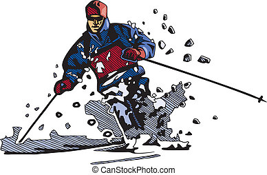 snowboarding, esquiando, &