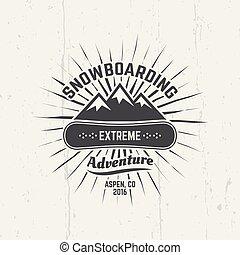Snowboarding, extreme sport vector black emblem