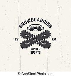 Snowboarding, extreme winter sport vector emblem