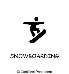 Snowboarding flat vector icon