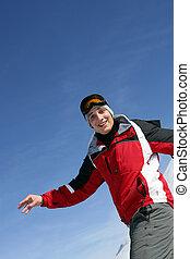 snowboarding, glücklich, mann