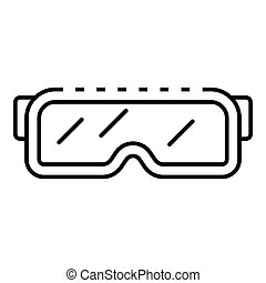 Snowboarding glasses icon, outline style
