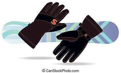 snowboarding gloves with snowboard in the background - pair...