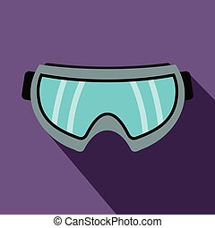 Snowboarding goggles icon, flat style