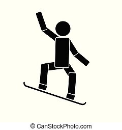 Snowboarding. Icon on white background