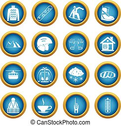Snowboarding icons blue circle set