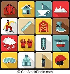 Snowboarding icons set, flat style