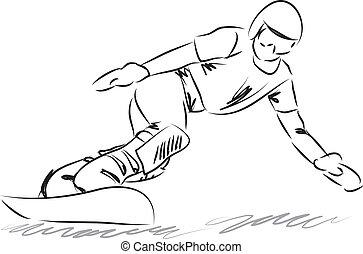snowboarding, ilustração