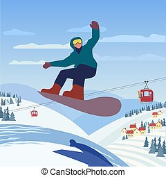 Snowboarding in mountains