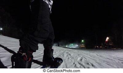Snowboarding in night