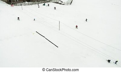 Snowboarding in the city from a slope, extreme sports,...