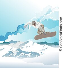 Snowboarding in the mountains at dawn - Snowboarder in ...