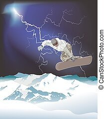 Snowboarding in the mountains - Snowboarder in action with ...