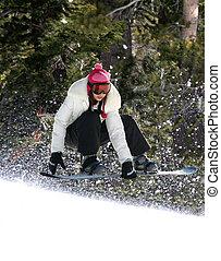 snowboarding, in, uno, foresta