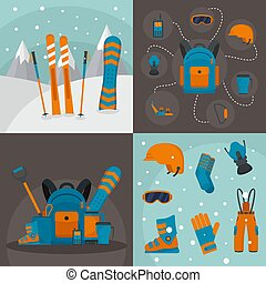 Snowboarding kit banner concept set, flat style