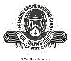 Snowboarding logo with man's head in helmet and goggles