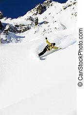 snowboarding, mulher, jovem