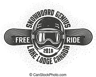 Snowboarding old school logo with helmet sports goggles and snowboard