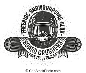Snowboarding old school logo with skull holding cracked snowboard