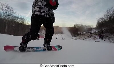 Snowboarding on fresh snow