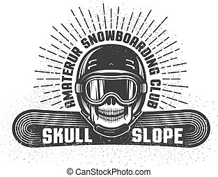 Snowboarding retro logo with skull in helmet and sports goggles
