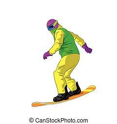 snowboarding, schieben hinunter, snowboarder, mann