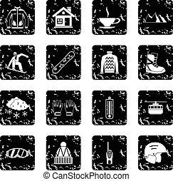 Snowboarding set icons, grunge style