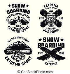 Snowboarding set of four vector vintage emblems