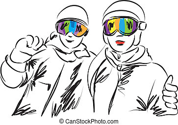 SNOWBOARDING SKIERS MAN AND WOMAN ILLUSTRATION